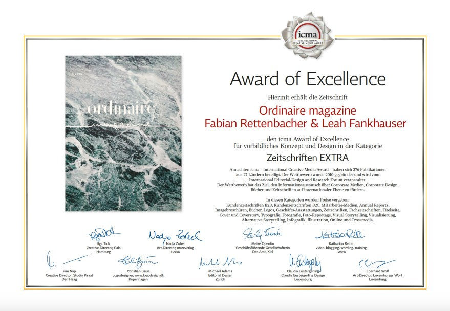 Fabian Rettenbacher Leah Fankhauser Award of Excellence Ordinaire Magazine